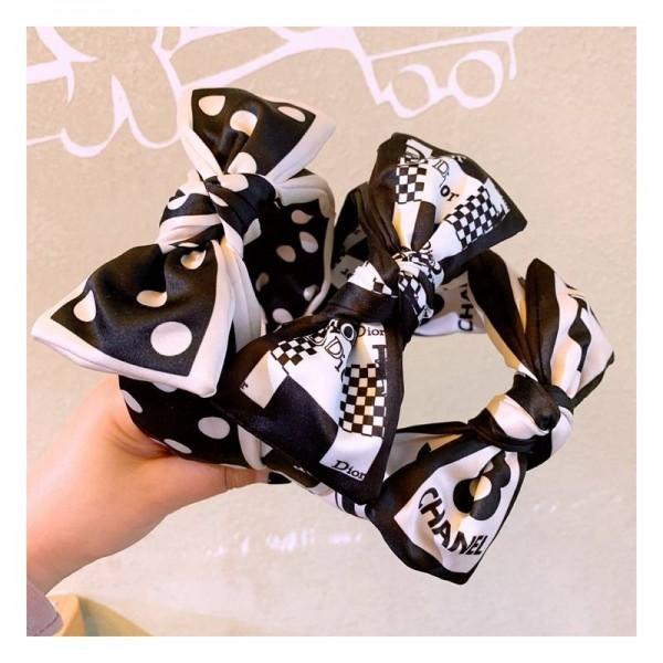 ディオール風 ブランド カチューシャ 白黒リボン 可愛い Dior ヘアアクセサリー Chanel ヘッドバンドガール シャネル ヘアバンド リボン ちょう結び ワイドリボン カチューシャ ファッション レディース