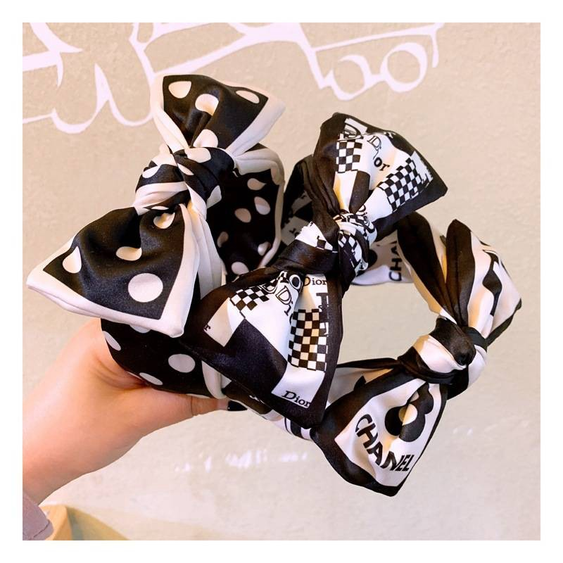 ディオール風カチューシャ白黒リボン可愛いレディース  Dior ヘアアクセサリー ヘッドバンドガール ファッション ヘアバンド リボンちょう結び ワイドリボンブランド ディオール カチューシャ