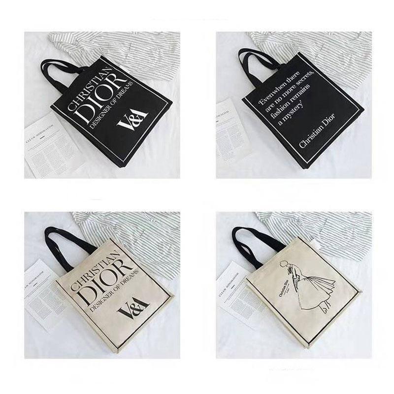 V&A Dior  キャンバス トートバック 激レア 在庫限り 英語 モノグラム ショッピングバッグ ハンドバッグ 激安ブランドディオールバッグ パロディメンズ 女性 ファッション 送料無料 ショルダーバッグ