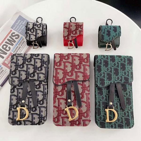 Dior ブランド サドル xperia 1/10 iiiスマホケース オブリーク柄 ミニバッグ ディオール airpods 1/2 proケース 2点セット 斜め掛け ファッション 女性 レディース iPhone12/galaxy s21/note 20 ultraカバーオシャレ Dior iPhoneケース イヤホンケース 激安 送料無料