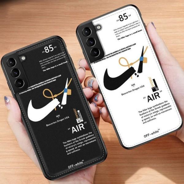 ナイキ ブランド galaxy s21/s21 ultra/s20/note20ケース かわいい Nike レザー風 スウッシュ柄 スポーツ風 OFF-WHITE セレブ愛用 iphone 12 pro/12mini/12 pro max/11 pro maxケース 激安 アイフォン8plus/x/xs max/xr/7/se2ケース 安い ファッション ペアお揃い メンズ レディース