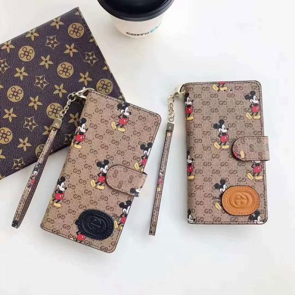 グッチ iphone12/12mini ディスニー Gucci ミッキー xperia1/10 iii/5iiケース 経典 Galaxy s21/s20+/note20 安い ブランド 手帳型 ストランプ付き 全機種対応 2021 カード収納 アイフォンse2/x/xs/xr/8/7 plus/11pro maxケース ファッション レディース
