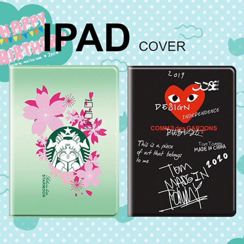 CDG セーラームーン コラボ ブランド iPad Pro 2021世代 Starbucks 9.7/11/12.9inch 2020ケース ipad air4/8/7 第2-4世代 アイパッドエア1/2/3ケース 横開き 9.7インチ Starbucks 新型 iPad pro 9.7 11 インチケース メンズ レディース