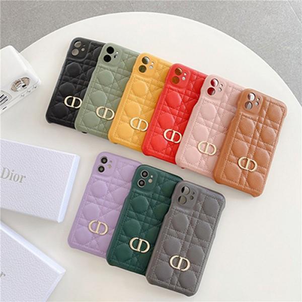 Diorディオール ブランド韓国風iphone 13/13pro/12 pro/12 mini/12 pro maxケース金属ロゴ付く高級感交換用おしゃれアイフォン11/11 pro/11 pro max/se2カバー柔らかいチィル革製女性向けアップルx/xs/xr/8/7スマホケース