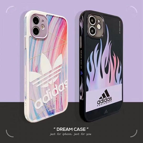 アディダス iphone 12 mini/12 pro/12 pro maxケース かわいい 個性潮 Adidas 韓国風, ブランド iphone 11 pro/11 pro maxスマホケース 火炎柄 四角保護 アイフォン12/11/x/xr/xs/8/7ケース 安い ファッション メンズ レディース