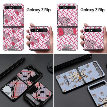 ブランドBurberry/バーバリーGalaxy Z Fold2/Galaxy Z Flipスマホケース 熊柄ピンク可愛い iphone13/12s/12/12mini/12pro maxケースメンズレディース サムソン携帯折り畳みカバー
