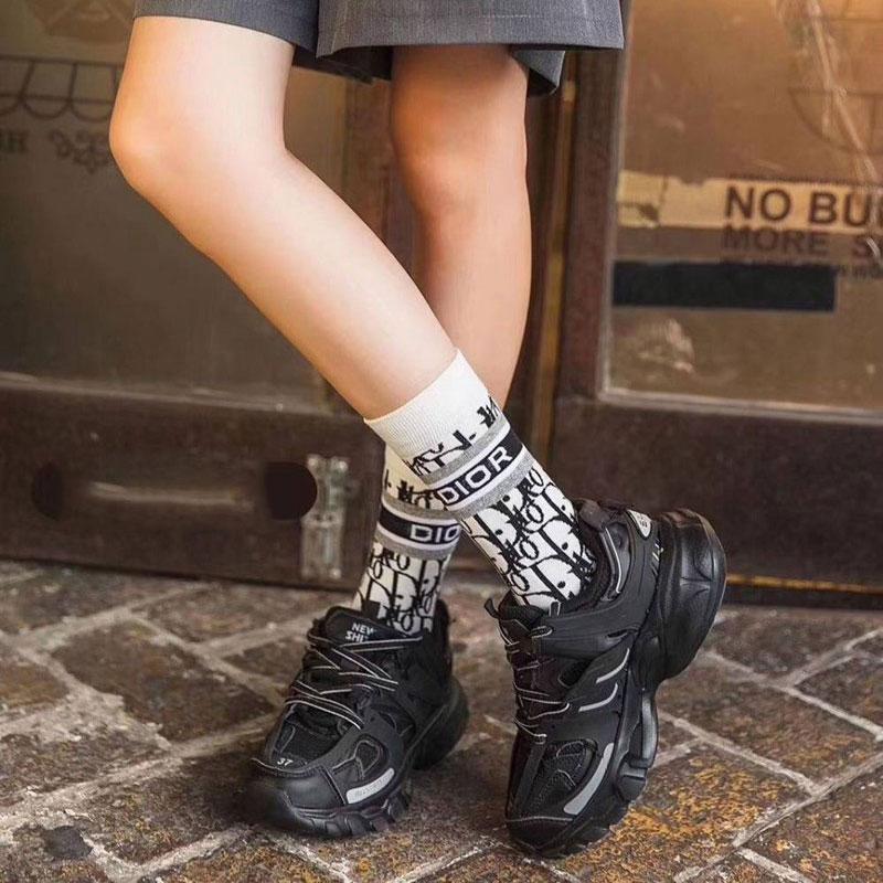 純綿ジャガード靴下 ディオール 花を編む カジュアル 男 女 靴下