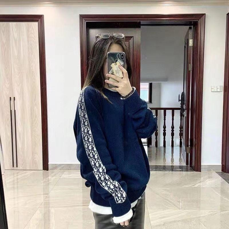 ディオール セーター 秋服 冬 編み物ニット製  ファッション潮流新品 ラウンドネック